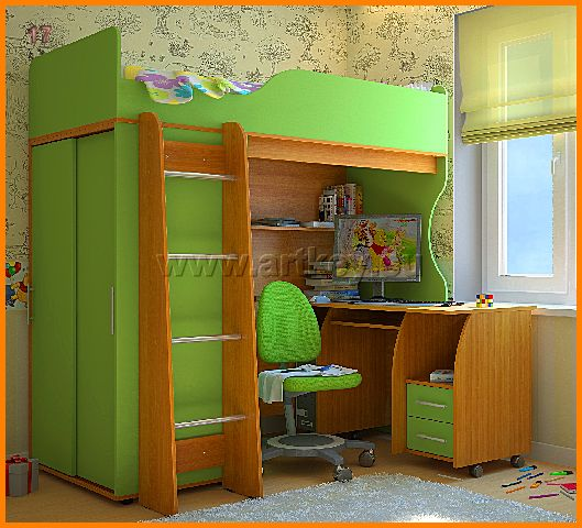 Компьютерный стол для ребенка с кроватью чердаком
