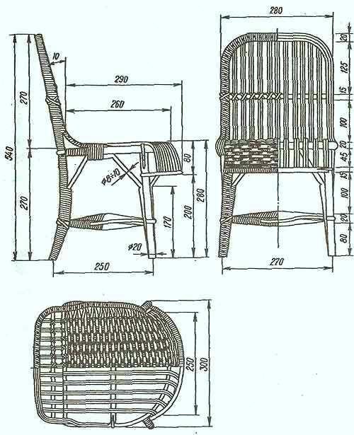 детский плетеный стул с овальным сиденьем